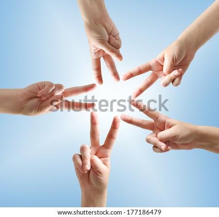 Finger star shape on background - stock photo