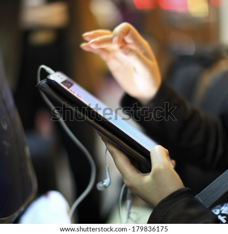 finger touch a pad - stock photo