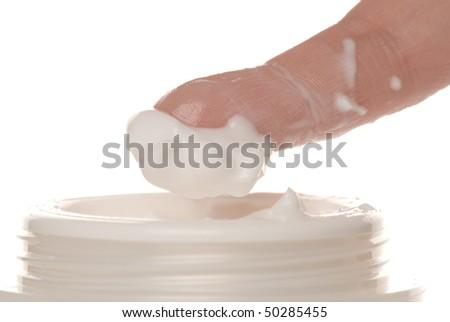 Finger touch foam - stock photo
