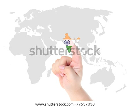 Finger touch on a future innovative transparent touch screen India map and flag - stock photo