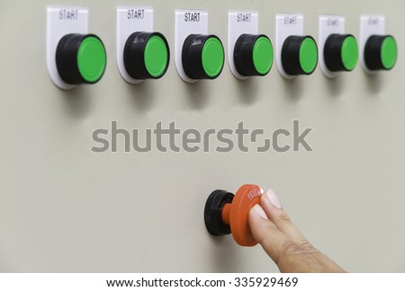 Finger touch on red emergency stop switch and reset with green  - stock photo