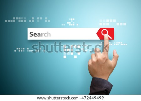 Finger touch the search bar for information