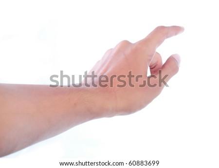 finger touching button - stock photo