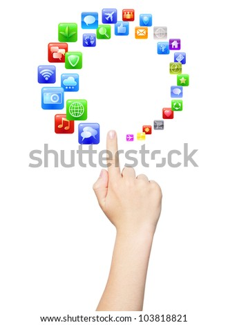 Finger touching circle of colorful applications, isolated, clipping path - stock photo