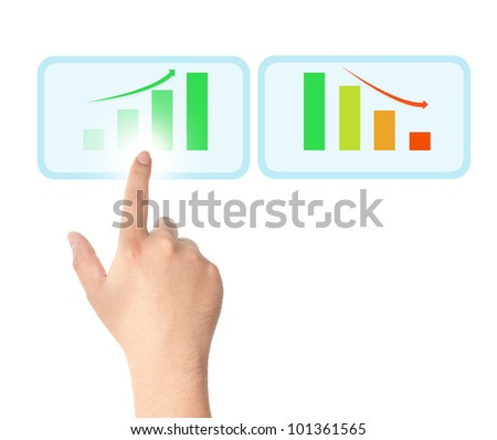 Finger touching on touch screen icon with bar chart for business growth concept - stock photo