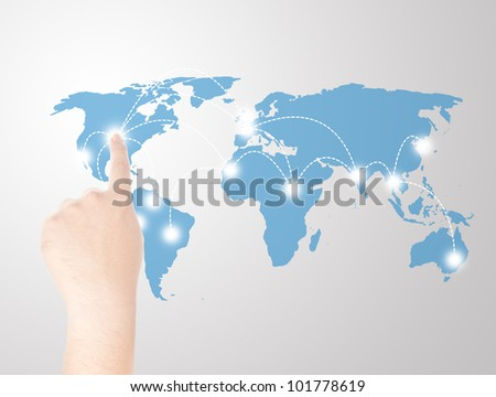 Finger touching on world map touch screen for social and internet connectivity concept - stock photo