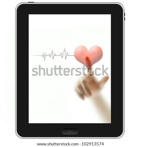 Finger touching red heart and pulse on blank white screen tablet PC