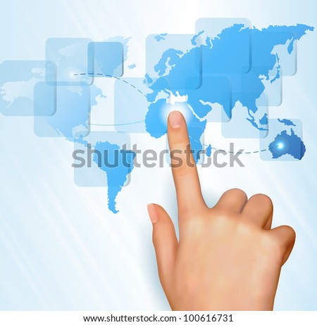 Finger touching world map on a touch screen. Raster version of vector.
