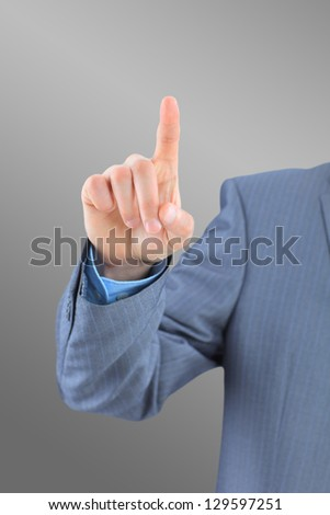 Finger trying to which the press. - stock photo