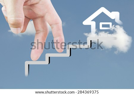 Finger walk up , concept house  - stock photo