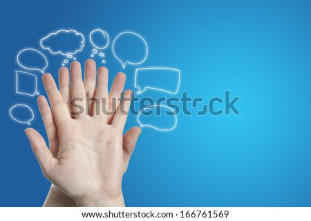 finger with bubbles over on blue background
