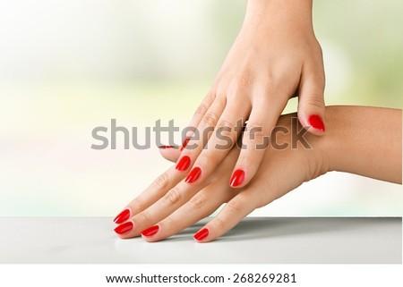 Fingernail. Red nails - stock photo