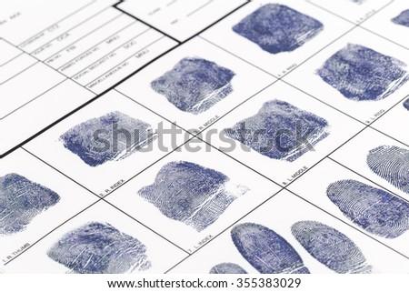 Fingerprint card - stock photo