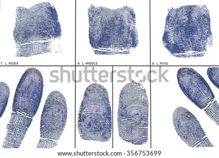 Fingerprint card with fingerprints - stock photo