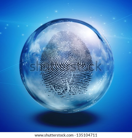 Fingerprint contained in glass sphere