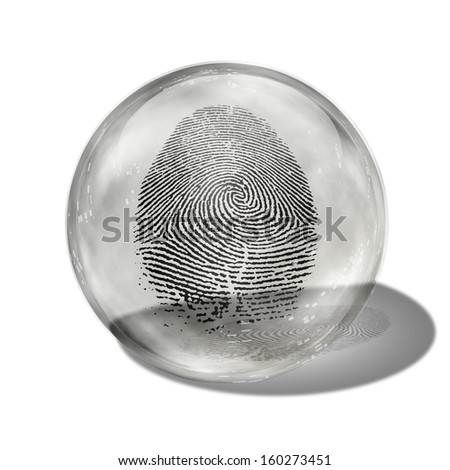 Fingerprint contained in glass sphere - stock photo