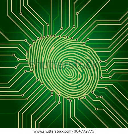 Fingerprint Identification System Green Electronics Scheme - stock photo