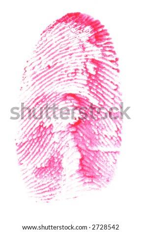 Fingerprint in red - stock photo