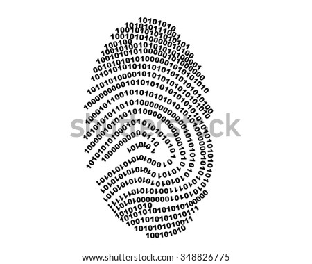 Fingerprint made with binary code, futuristic bionic concept made in 2d software - stock photo