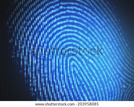 Fingerprint on a led screen. Concept of technology. - stock photo