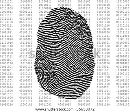 Fingerprint over background of binary numbers - stock photo