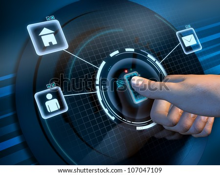 Fingerprint recognition used to access a software interface. Digital illustration. - stock photo