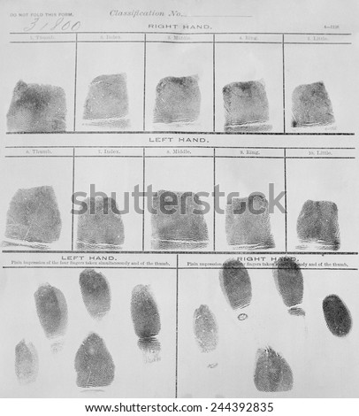 Fingerprint record sheet from the Navy Department in 1912. Fingerprints were introduced into police investigations in the early 20th century. - stock photo