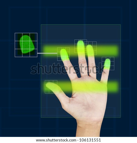 fingerprint scanner security concept . - stock photo