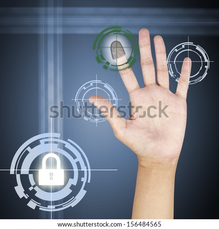 fingerprint scanner security concept . - stock photo