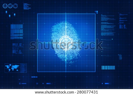 Fingerprint Scanning Technology Concept Illustration. Fingerprint Searching Software. Identity Check - stock photo