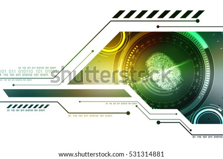 Fingerprint Scanning Technology Concept Illustration. Fingerprint Searching Software. Identity Check