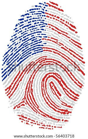 Fingerprint stamp on white paper for USA flag - stock photo