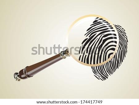 fingerprint through magnifying glass - stock photo