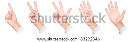 fingers counting from 1 to 5  isolated on white background