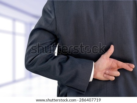 Fingers Crossed, Human Finger, Crossing. - stock photo
