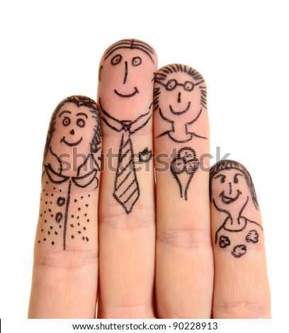Fingers Family isolated on white background - stock photo