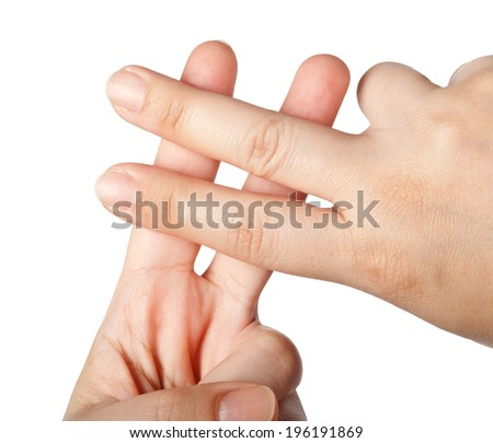 Fingers forming a hashtag symbol isolated on white background  - stock photo