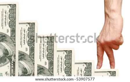 fingers go up the stairs dollars - stock photo