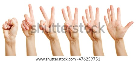 Fingers of a woman counting from zero to five