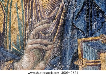 fingers of Jesus, raised for the ritual - stock photo