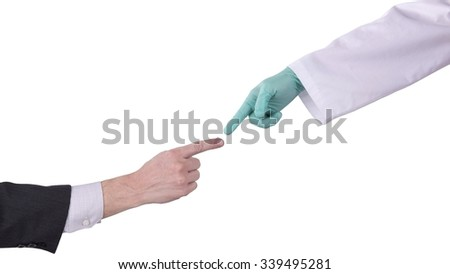Fingers of Two People Nearly Touching - Isolated - stock photo