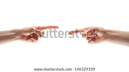 Fingers point to each other , isolated on white - stock photo