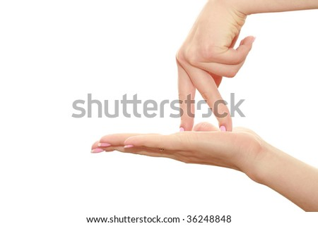 fingers walk the open palm - stock photo
