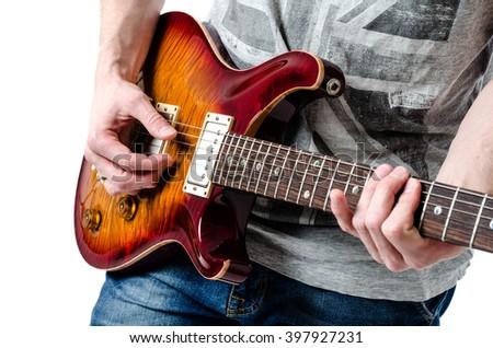 Fingerstyle jazz guitar improvisation - stock photo
