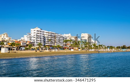 Finikoudes Beach - Larnaka City, Cyprus - stock photo