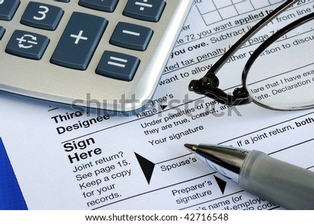 Finish and sign the income tax return isolated on blue