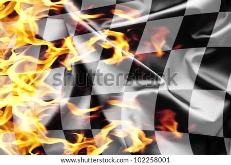 Finish flag on fire - stock photo