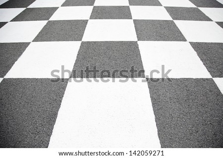 Finish line in the circuit, detail of signal arrival at a race track competition, speed - stock photo