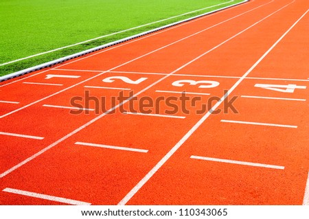 finish line on a track. Possible to use in sports publications - stock photo