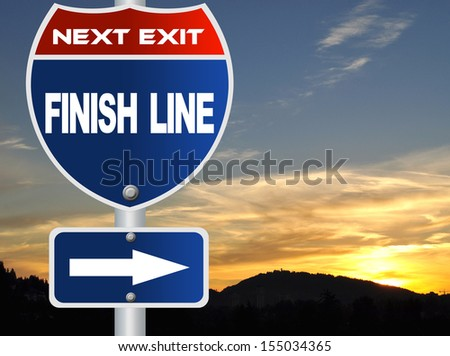 Finish line road sign - stock photo